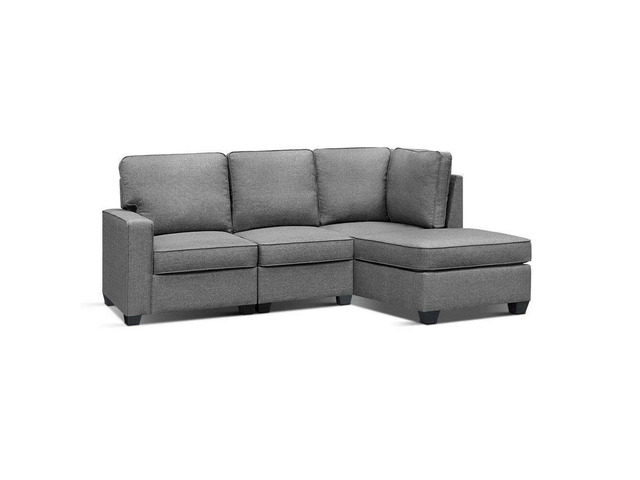 Artiss Sofa Lounge Set 4 Seater Modular Chaise Chair Suite Couch Fabric Grey - 7