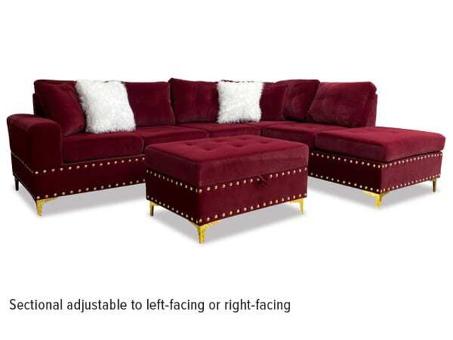 Rave 3pc Sectional & Ottoman in Burgundy - 1