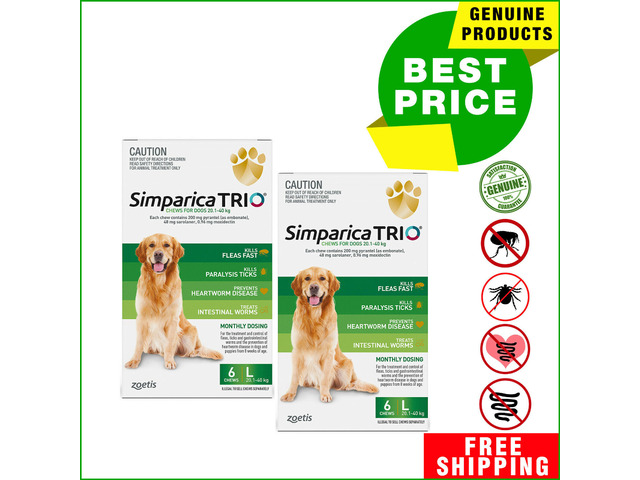 SIMPARICA TRIO to Control Flea Tick Worms & Heartworm For Dogs 40 to 60 Kg 12 Doses GREEN Pack - 1