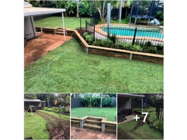 Retaining wall with steps and a full returf - 1