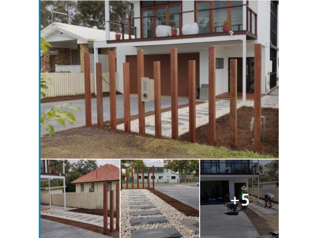 Landscaping in Lota - Paving, concrete driveway, gardens and feature fence - 1
