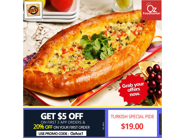 Get 20% and $5 OFF your First 3 Orders @ Wood Oven Pizza - 1