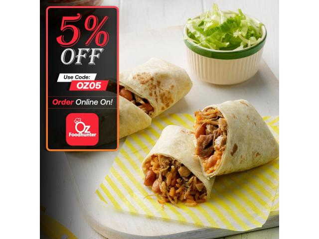 Grab your tasty Mexican dishes at Zambrero Ashmore get - 5% off - 1