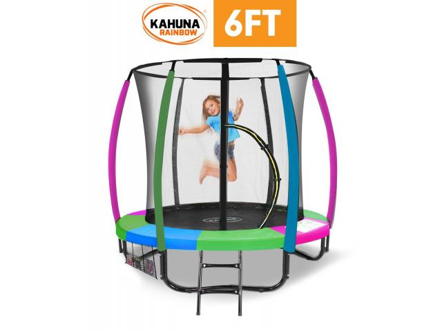 Kahuna 6 ft Trampoline with Rainbow Safety Pad - 1