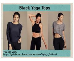 Find Stylish Black Yoga Top At Goldi