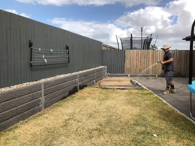 Concrete retaining wall on June 4 in Logan Reserve - 1