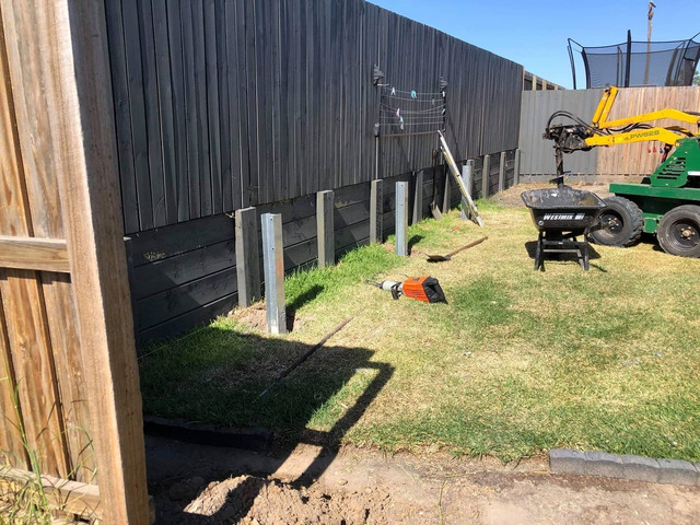 Concrete retaining wall on June 4 in Logan Reserve - 3
