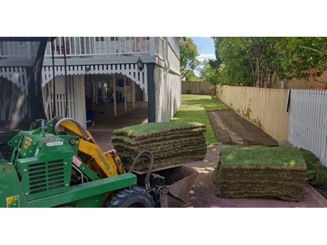 312 Square meter re-turfing Project on April 12 - Rogers Little Loaders. - 2
