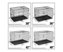 "PORTABLE COLLAPSIBLE 3 DOORS METAL CRATE WITH TRAY 36""42""48"" DOG PUPPY CAT KITTEN PET CAGE KENNEL"