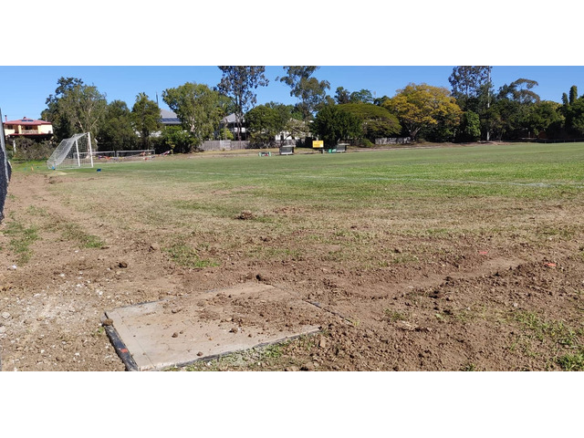 Soccer field lights electrical trenching. at Newmarket Football Soccer Club.- Rogers Little Loaders. - 1