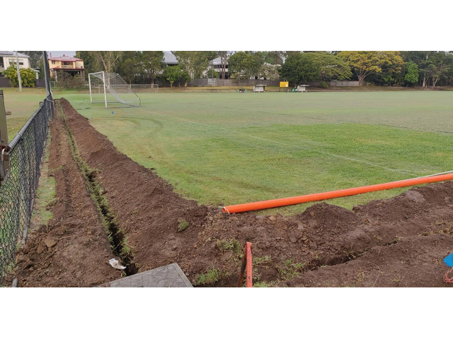 Soccer field lights electrical trenching. at Newmarket Football Soccer Club.- Rogers Little Loaders. - 2