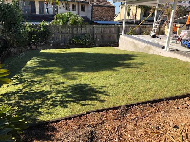 Irrigation and turfing. at Jamboree Heights., Queensland - Rogers Little Loaders. - 2
