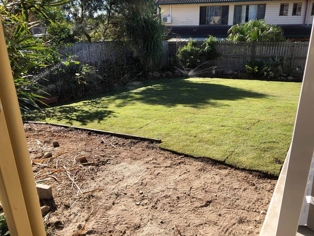 Irrigation and turfing. at Jamboree Heights., Queensland - Rogers Little Loaders. - 3