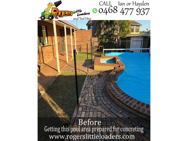 Concrete preparation at Carseldine, Brisbane - Rogers Little Loaders. - 5
