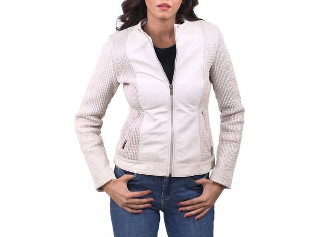 Women Leather Jacket Blanche - 2