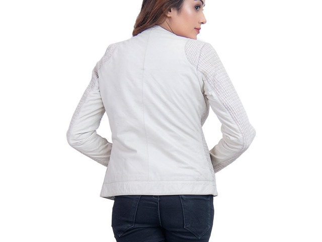 Women Leather Jacket Blanche - 3