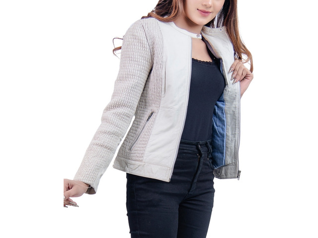Women Leather Jacket Blanche - 4